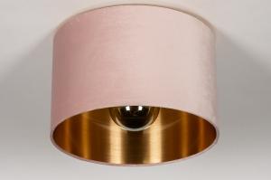 onderdeel 74051 modern eigentijds klassiek art deco stof goud roze rond