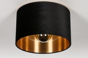 onderdeel 74054 modern eigentijds klassiek art deco stof zwart goud rond