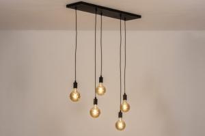 hanglamp 74061 industrie look modern metaal zwart mat rechthoekig