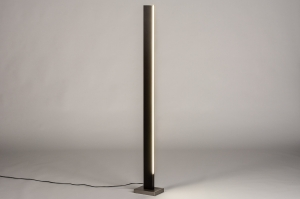 Stehleuchte 74069 Design modern Holz dunkeles Holz Edelstahl braun Holz rechteckig