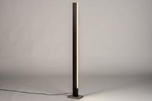 vloerlamp 74069 design modern hout donker hout staal rvs bruin hout rechthoekig