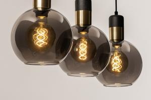 hanglamp 74076 modern eigentijds klassiek art deco glas metaal zwart mat grijs messing rond langwerpig