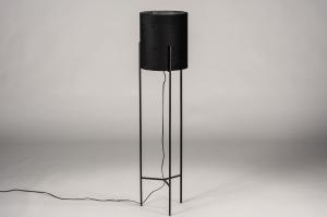 vloerlamp 74078 landelijk rustiek eigentijds klassiek stof metaal zwart mat glans