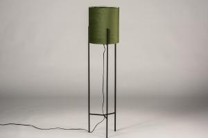vloerlamp 74079 landelijk rustiek eigentijds klassiek stof metaal zwart mat groen
