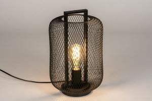 tafellamp 74086 landelijk rustiek modern metaal zwart mat