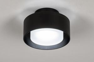 plafondlamp 74089 design modern retro aluminium kunststof metaal zwart mat rond