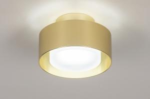 plafondlamp 74090 design modern retro eigentijds klassiek art deco messing geschuurd aluminium kunststof metaal goud messing rond