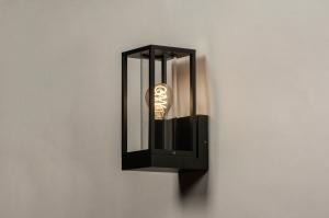 wandlamp 74100 landelijk rustiek modern eigentijds klassiek glas helder glas metaal zwart mat rechthoekig lantaarn
