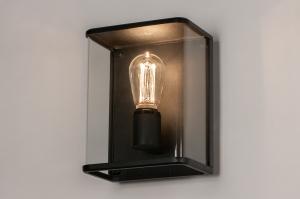 Aussenleuchte 74101 laendlich rustikal modern zeitgemaess klassisch Glas klares Glas Metall schwarz matt rechteckig