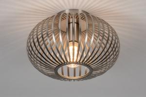 plafondlamp 74111 modern retro staal rvs metaal staalgrijs rond