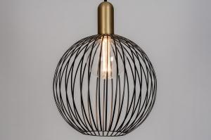 hanglamp 74112 modern eigentijds klassiek art deco metaal zwart mat goud messing rond