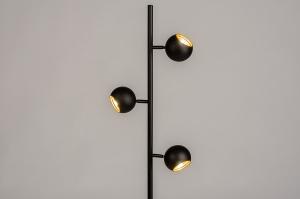vloerlamp 74113 modern retro metaal zwart mat goud rond