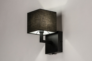wandlamp 74114 landelijk rustiek modern eigentijds klassiek stof metaal zwart mat vierkant