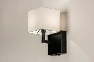 wandlamp 74115 landelijk rustiek modern eigentijds klassiek stof metaal zwart mat taupe vierkant