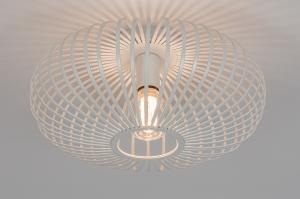 plafondlamp 74117 modern retro metaal wit mat rond