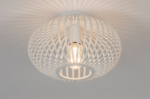 plafondlamp 74118 modern retro metaal wit mat rond