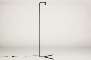 vloerlamp 74124 design landelijk rustiek modern stof metaal zwart mat