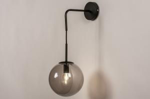 wandlamp 74128 modern retro glas metaal zwart mat
