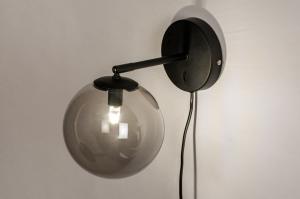 wandlamp 74129 modern retro eigentijds klassiek glas metaal zwart mat