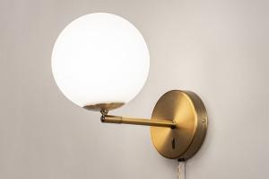 wandlamp 74131 modern retro klassiek eigentijds klassiek glas wit opaalglas messing brons wit brons