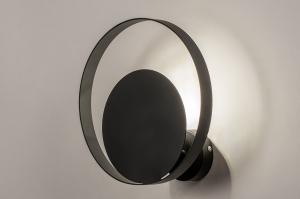 wandlamp 74133 landelijk rustiek modern metaal zwart mat rond