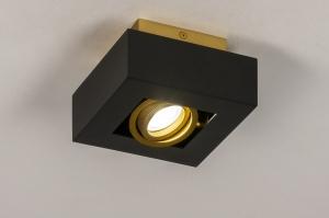 plafondlamp 74134 design modern metaal zwart mat goud vierkant