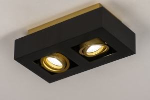 plafondlamp 74135 design modern metaal zwart mat goud rechthoekig