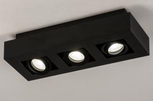 plafondlamp 74136 design modern metaal zwart mat vierkant
