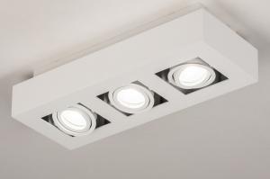 plafondlamp 74137 design modern metaal wit mat vierkant