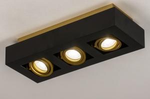 plafondlamp 74138 design modern metaal zwart mat goud rechthoekig