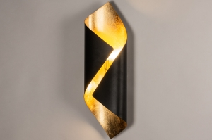 wandlamp 74146 landelijk rustiek modern eigentijds klassiek metaal zwart mat goud