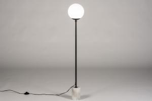 vloerlamp 74152 landelijk rustiek modern eigentijds klassiek art deco glas wit opaalglas marmer metaal zwart mat wit mat glans