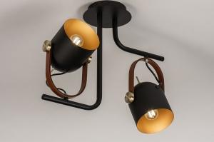 plafondlamp 74153 industrie look modern eigentijds klassiek metaal zwart mat goud