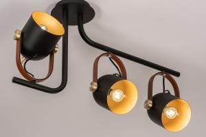plafondlamp 74154 industrie look modern eigentijds klassiek metaal zwart mat goud