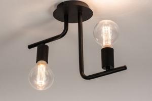 plafondlamp 74155 modern stoer raw metaal zwart mat