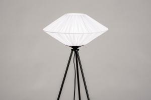 vloerlamp 74159 landelijk rustiek modern eigentijds klassiek stof metaal zwart mat wit glans