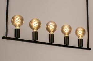 hanglamp 74160 design landelijk rustiek modern stoer raw eigentijds klassiek metaal zwart mat langwerpig