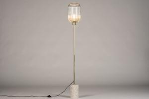 Stehleuchte 74161 laendlich rustikal modern Klassisch zeitgemaess klassisch Glas klares Glas Messing gebuerstet Metall Matt Messing