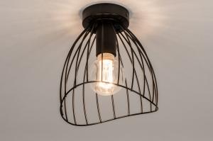 plafondlamp 74166 modern retro metaal zwart mat rond