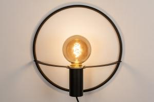 wandlamp 74170 design landelijk rustiek modern messing geschuurd metaal zwart mat messing rond