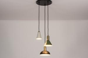 hanglamp 74172 design modern eigentijds klassiek messing geschuurd metaal zwart grijs groen mat messing