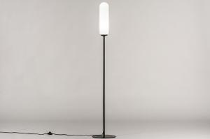 Stehleuchte 74177 Design modern zeitgemaess klassisch Art deco Glas mit Opalglas Metall schwarz matt weiss Glanz