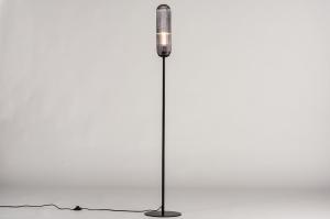 vloerlamp 74178 design modern eigentijds klassiek art deco glas metaal zwart mat