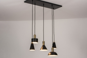 hanglamp 74190 landelijk rustiek modern eigentijds klassiek messing metaal zwart mat messing