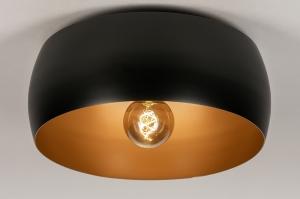 plafondlamp 74199 landelijk rustiek modern klassiek eigentijds klassiek metaal zwart mat goud rond