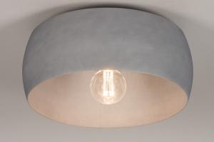 plafondlamp 74200 industrie look modern stoer raw metaal betongrijs rond
