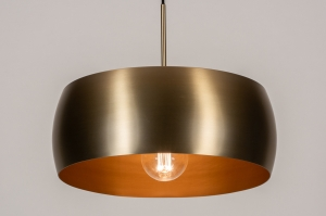 hanglamp 74201 landelijk rustiek modern klassiek eigentijds klassiek messing geschuurd metaal goud mat messing rond