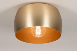 plafondlamp 74203 landelijk rustiek modern klassiek eigentijds klassiek messing geschuurd metaal goud messing rond