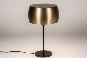 tafellamp 74204 landelijk rustiek modern klassiek eigentijds klassiek messing geschuurd metaal zwart goud messing rond