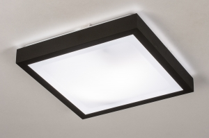 plafondlamp 74226 modern aluminium kunststof zwart mat wit vierkant